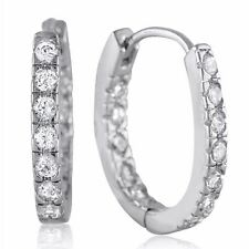 Small Sterling Silver Hoop CZ Earrings Inside Out Classic Micro Pave Hoops Teens