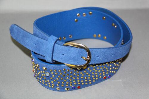 Cinturón en vintage óptica talla 85 azul con tachuelas y pedrería terciopelo