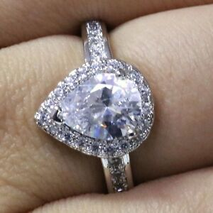 2-5-Ct-Pear-Cubic-Zirconia-Ring-Women-Wedding-Jewelry-14K-White-Gold-Plated