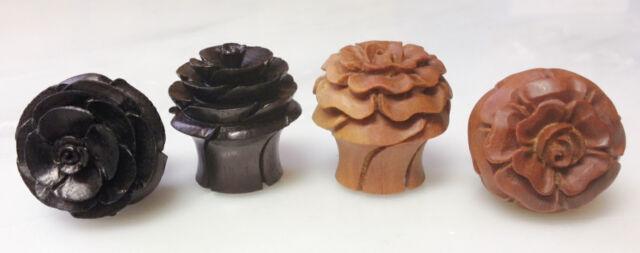 PAIR Rose in Bloom Sawo or Areng Wood Ear Plugs Flower Organic Gauges Earlets