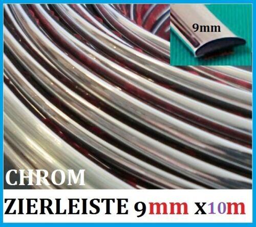 9mm x 20 METER ZIERLEISTEN Chrom Auto selbstklebend Universal NEU
