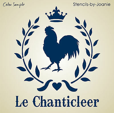 Le Rooster STENCIL French Chanticleer Royal Wreath Laurel Leaf Crown Art Signs