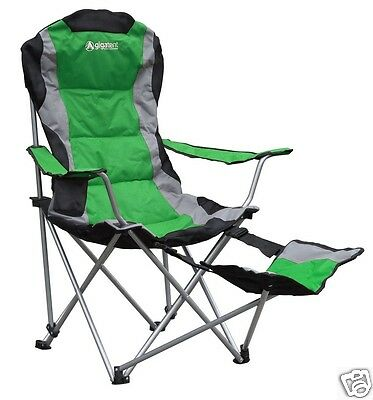 Gigatent Folding Camping Chair with Built-in Adjustable Footrest Green