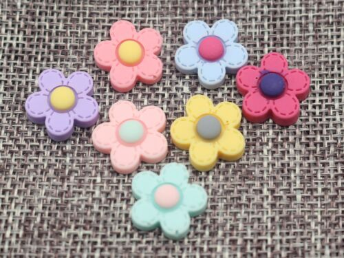 50 Mixed Color Flatback Resin Flower Cabochon 15mm Appliques For phone wedding
