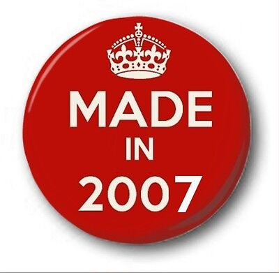 Made in 2008 25mm Button Pin Badge Black Keep Calm Birthday Year of Birth