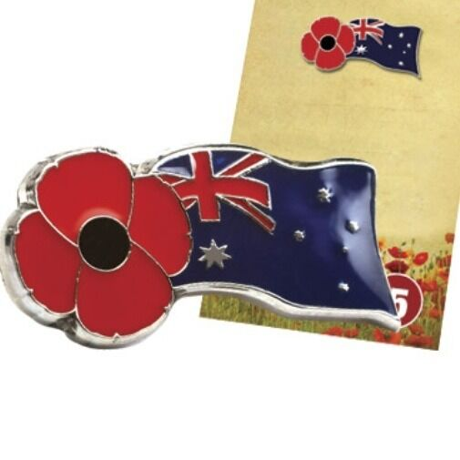 REMEMBRANCE  DAY AUSTRALIA FLAG POPPY LAPEL PIN *ANZAC Day