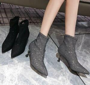 womens sock boots low heel