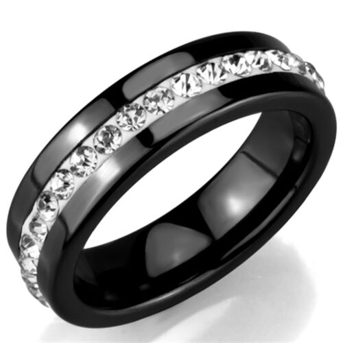 Ladies Black Ceramic Band All Around Clear Crystal Stainless Steel Ring