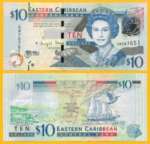 East Caribbean States 10 Dollars p-52b 2016 UNC Banknote