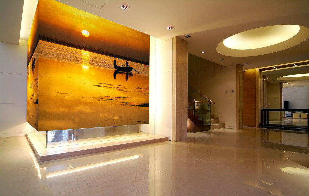 3D Golden Sunset Boat 55 Wall Paper Wall Print Decal Wall Deco Indoor Mural