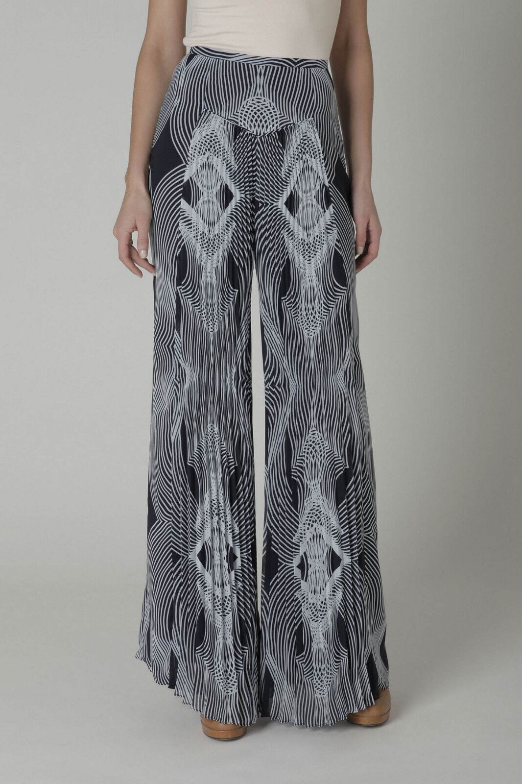 Anthropologie Leifsdottir Pleated  Optic  Palazzo Pants Größe 0