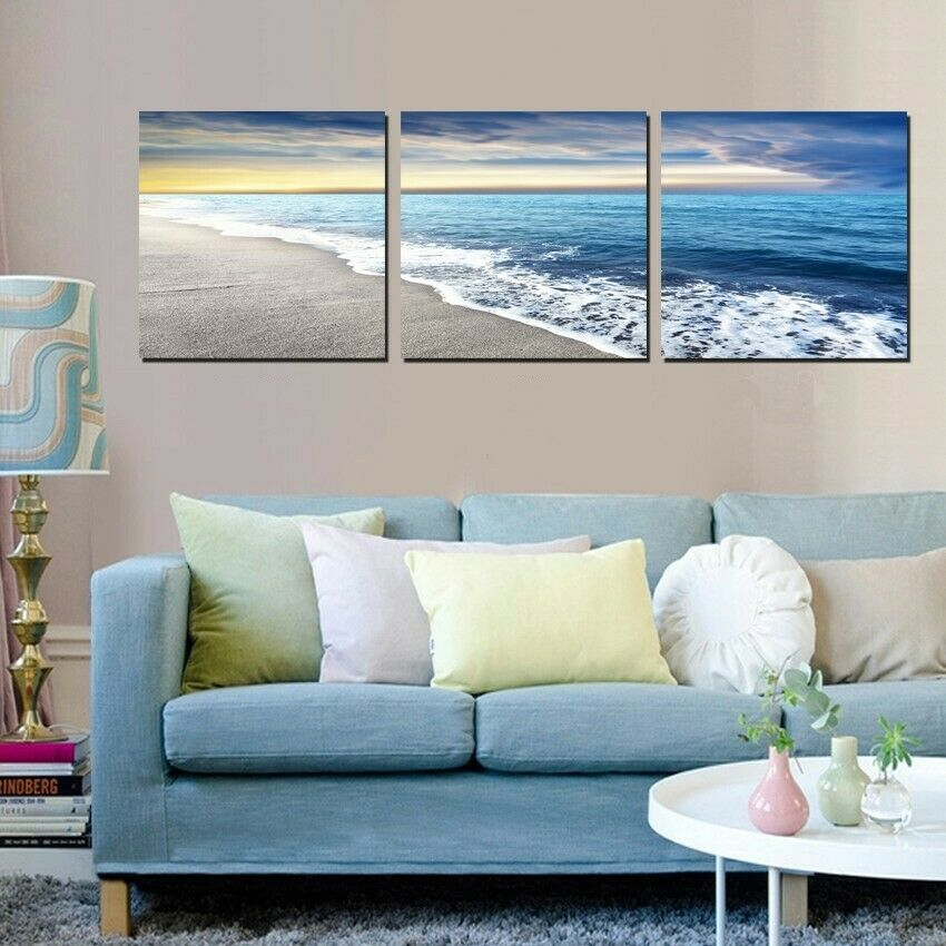 BEACH  SEAVIEW 3 PANEL CANVAS WALL ART  BRAND NEW