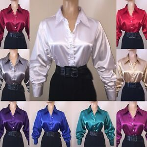 M-L-XL-Shiny-LIQUID-SATIN-Stretch-BLOUSE-Button-French-Cuff-Links-NEW-Vtg-US-SZ