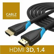 1m Premium HDMI Cable / Lead 1.4, 3D, GOLD High Speed HDTV 2160p 4K, Ethernet