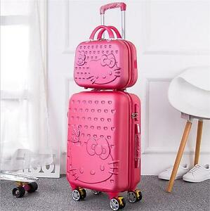 b3b4cfd2a54c Image is loading 2pcs-14inch-Cosmetic-bag-HelloKitty-trolley-case-Travel-