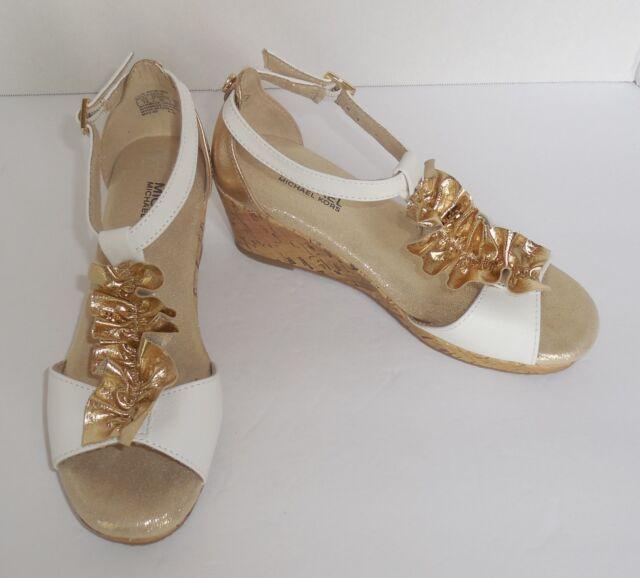 dd8be10804eb Michael Kors Girls 12 Youth Cate Nicki 888 White Gold Sandals Cork Wedge New