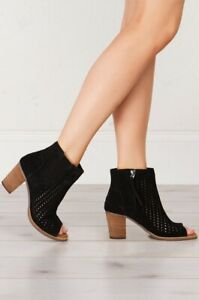TOMS Black Suede Perforated Leaf Womens