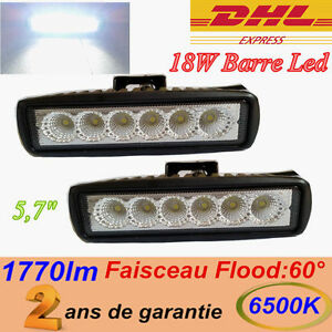 2x-18W-phare-de-travail-Barre-LED-projecteur-hors-route-12V-24V-worklight-rampe