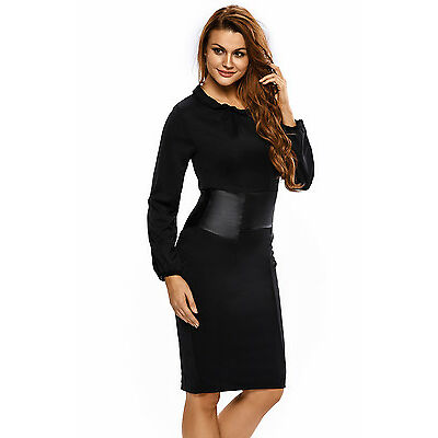 Boldgal Leather Nightclub Party Wear Evening Long Sleeves Midi Dress