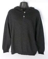"Brora Mens Grey 100% Cashmere Knit Hooded Jumper Sweater Size XL 48-50"" Chest ld"
