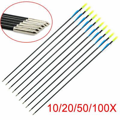 "5-100 31/"" Fiberglass Arrows Archery Hunting Target Compound Bow Fiber Glass Bows"