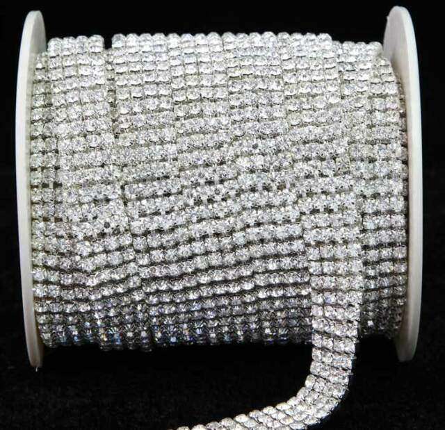 NEW Crystal Diamante Rhinestone Chain Banding 1 2 3 4 6 Row Cake Decoration SS16