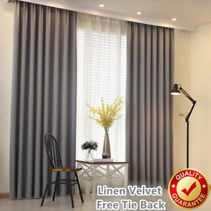 Image Is Loading Grey Linen Velvet 80 Blockout Blackout Eyelet Curtains