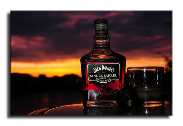 Large Wall Art Canvas Picture Print of Jack Daniels Bottle Sunset ...