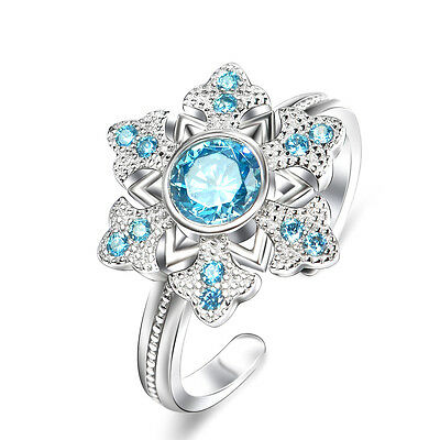 925 Sterling Silver Ring Snowflake Blue SAPPHIRE&White CZ Frozen Adjustable Ring