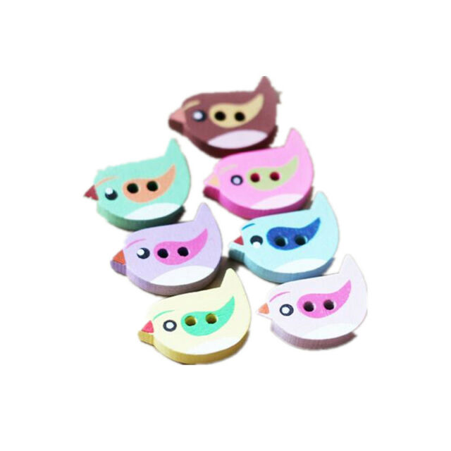 50 Pcs DIY Mixed Lovely Bird Shape Sewing Wooden 2-holes Clothes Cartoon Buttons