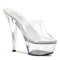 Pleaser Kiss-201 Ladies Clear Stiletto Heel Platform Slide Stripper Shoes