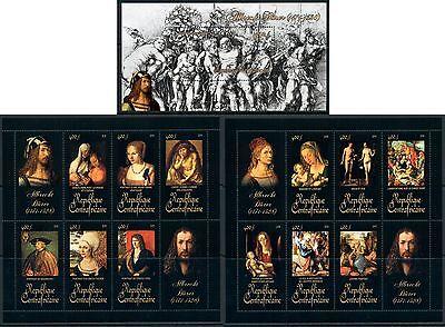 Briefmarken Central Africa Kunst German Albrecht Dürer Komplettes Mnh Stempelset 15 Sheets