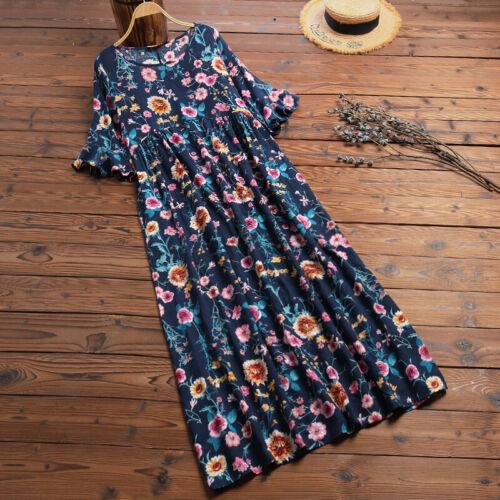 Neu ZANZEA Damen Geblümt Rundhals Kleid Strandkleid Rüschenärmel Prom Partykleid