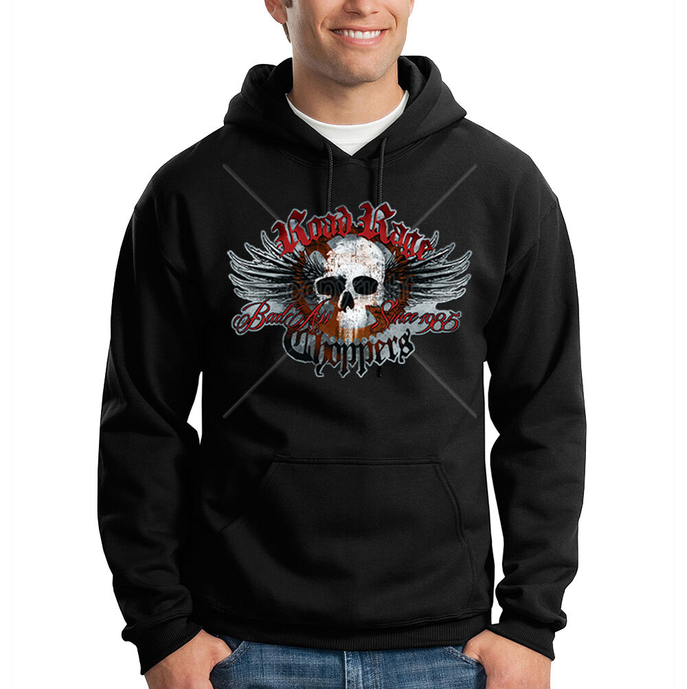 Road Rage Choppers Skull Biker Wings Motorcycle Racing Hooded Sweatshirt Hoodie