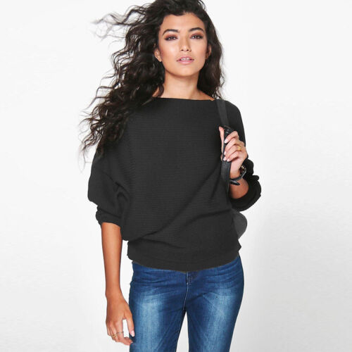 Women Batwing Long Sleeve Knitted Sweater Ladies Loose Jumper Casual Blouse Top