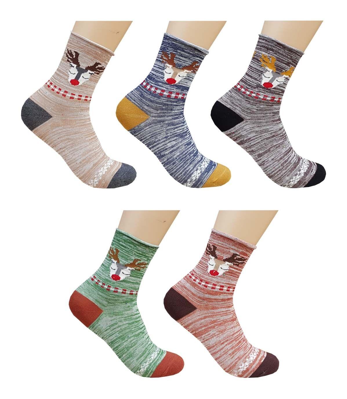 BLUE REEF Socken Damen Süß Rentier Spaß Neuheit Knöchel Socken 3-6