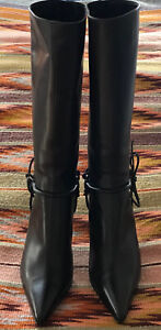 Gucci-Dark-Brown-Leather-Horsebit-Pointed-Toe-Boots-Size-9-B