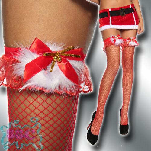 Weihnachts-Netz Stockings Halterlose Strümpfe Overknees Weihnachten Christmas