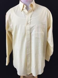 IZOD-mens-shirt-size-16-32-33-long-sleeve-yellow-wrinkle-free-twill-regular-fit