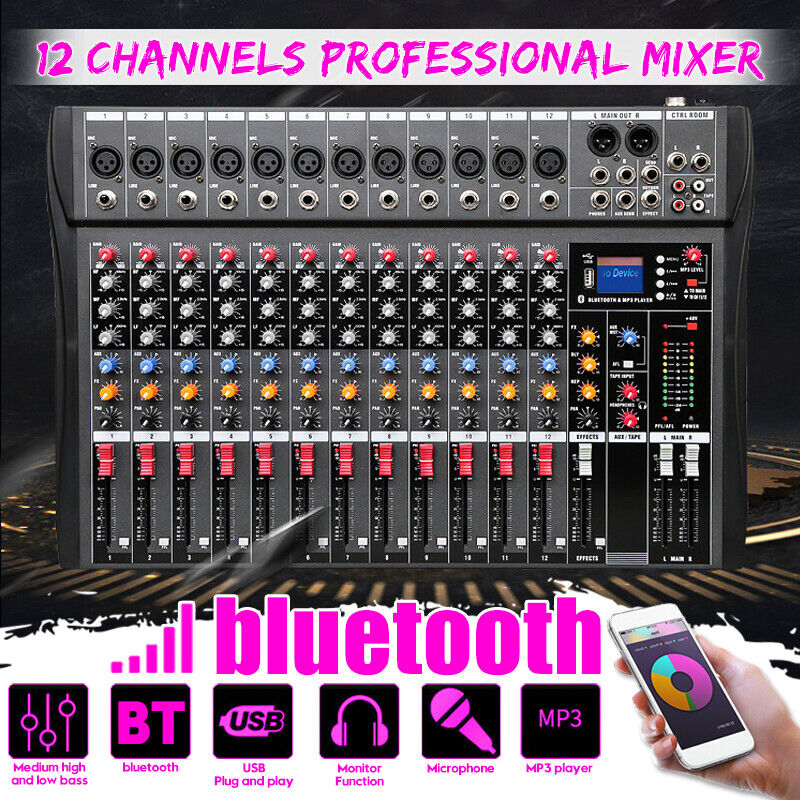 12 Channel Pro Live Studio Audio Sound Mixer USB Mixing blåtooth DJ Console KTV