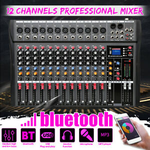 Details about 12 Channel Pro Live Studio Audio Sound Mixer USB Mixing  bluetooth DJ Console KTV
