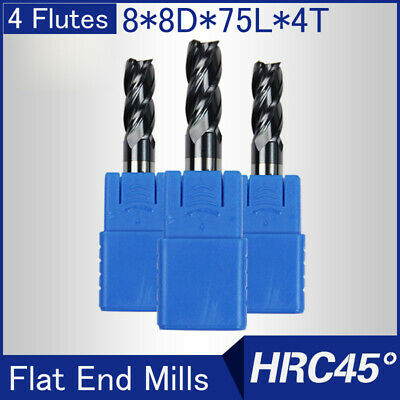 Solid Carbide End Mill 4Flute 8mm Shank HRC45 CNC Milling Cutter Bits For Steel