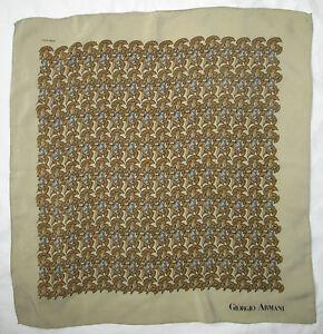 Foulard-tour-de-cou-GIORGIO-ARMANI-100-soie-50cm-x-50cm-TBEG-vintage-scarf