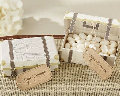 24 Bon Voyage Vintage Suitcase Wedding Party Favor Boxes Travel Reception Unique