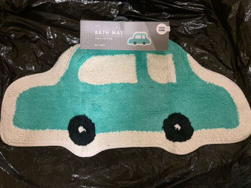 Next Car Transport Bath Mat Boys Children Teal White Black 40x70cm Small Cotton