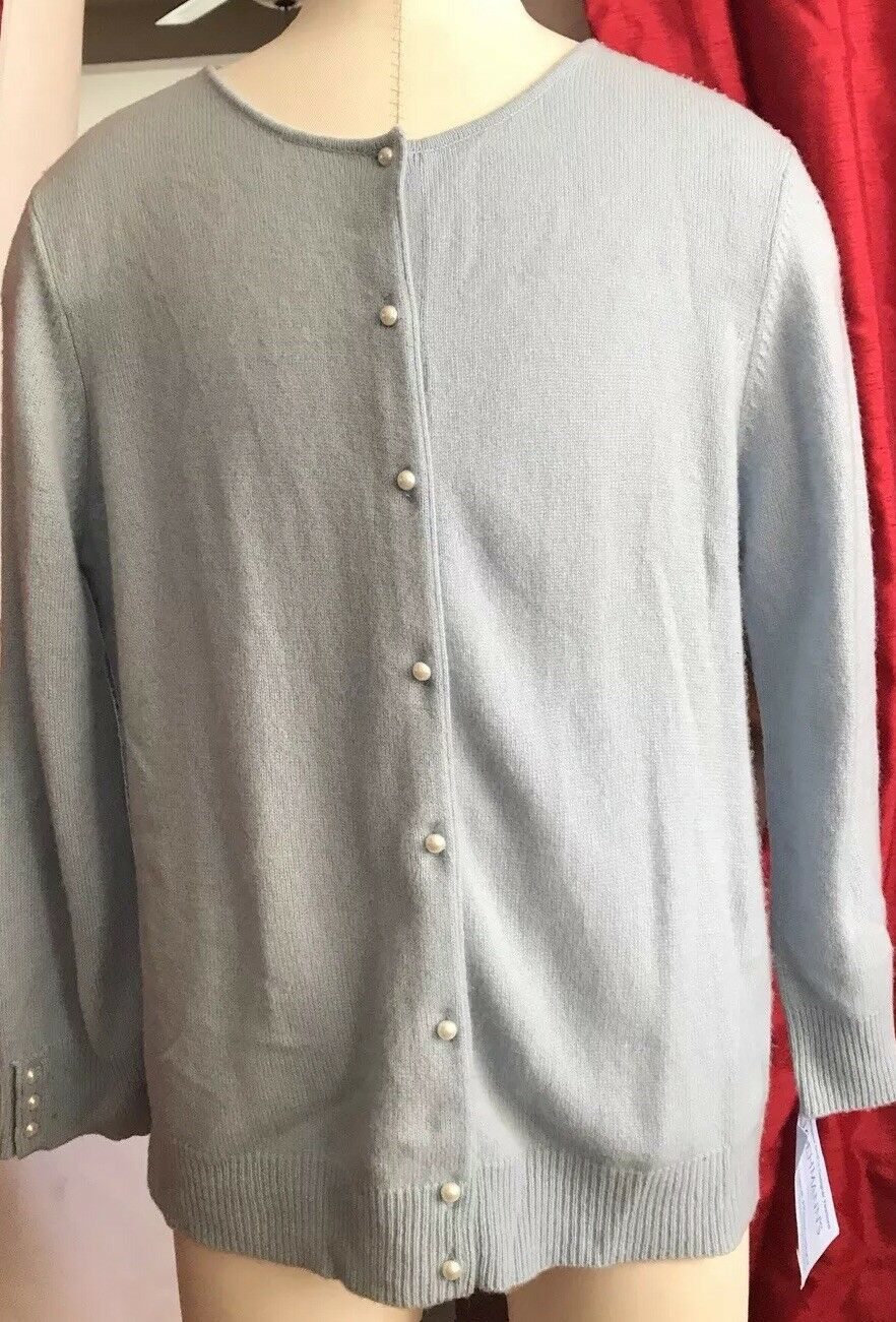 WENDY B. bluee Soft 100% Cashmere 3 4 Sleeve Cardigan P Pearl Buttons M NWT