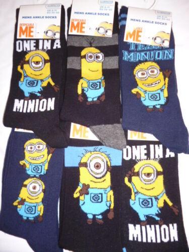 Mens//Boys MINIONS dESPICABLE mE Novelty Cotton Socks Fun Xmas Gift 6-11