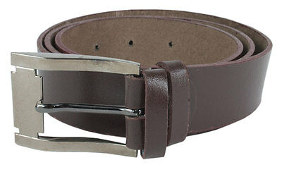 """Mens  Real Leather Brown Belt With Silver Buckle - To Fit  30"""" - 46"""" UK"""