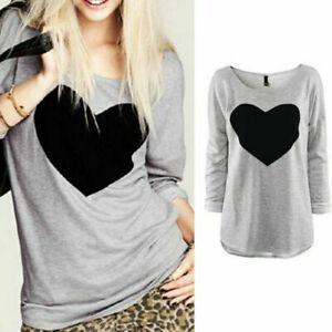 Women-039-s-T-Shirt-Love-Heart-Casual-Ladies-Loose-Blouse-Long-Sleeve-Tee-shirt-Tops
