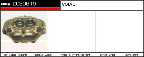 Brake Caliper fits VOLVO 260 Front Right 2.7 2.8 74 to 82 Remy 5002029 12734315